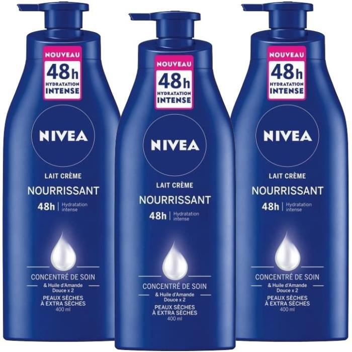 [LOT DE 3] NIVEA Lait crème nourrissant - Pour les peaux sèches et très sèches - 400 ml