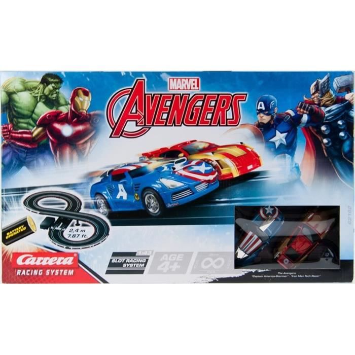 Carrera Marvel Avengers Slot Car Racing System Figure de 8 pistes de karting avec 2 voitures