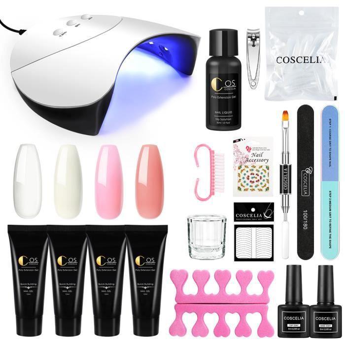 Kit Poly Nail Gel Extension Gel de Vernis à Ongle 36W Lampe UV/LED Faux Ongles Gel Construction Cleanser Plus Décor Manucure Nail
