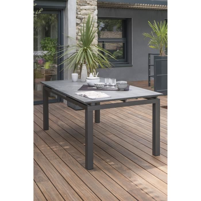 DCB GARDEN Table Miami en aluminium et verre avec rallonge automatique - 180-240 x 100 cm - Gris anthracite