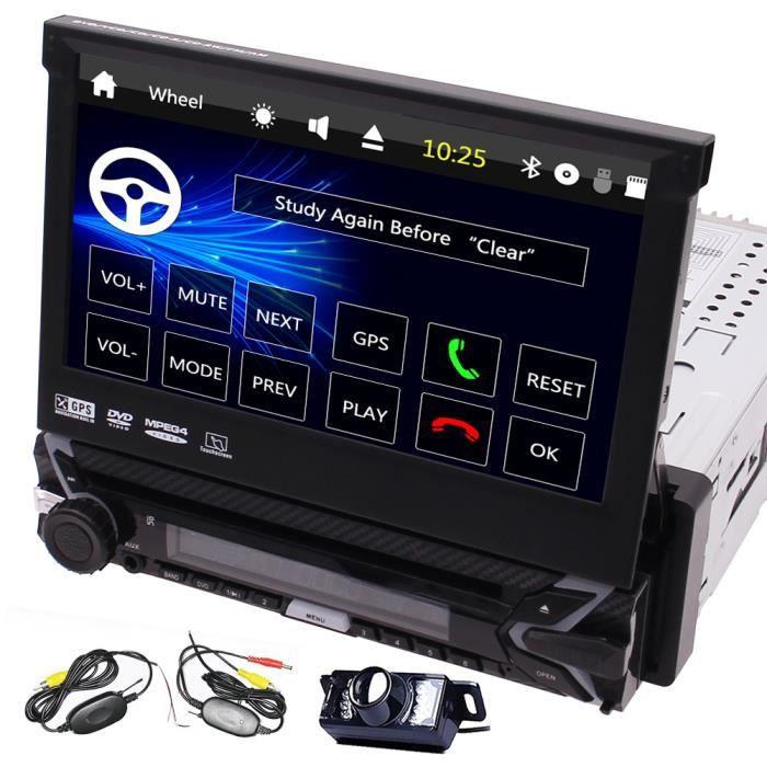 GPS simple Din Radio 7 pouces voiture lecteur DVD au tableau de bord panneau amovible pour Anti-vol Head Unit 1 Din support audio