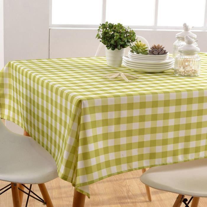 Nappe de Table Carreaux Imprime - Imperméable - Rectangle - 100 × 100 cm Vert