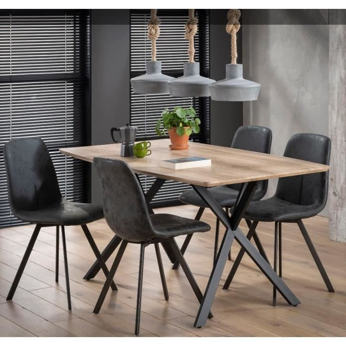 Table repas BASH design chêne avec piétement en acier natural bois Inside75