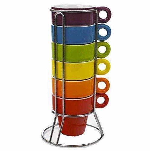 Set de 6 Tasse a Expresso avec Support - Café Rack Cuisine Vaisselle - 224