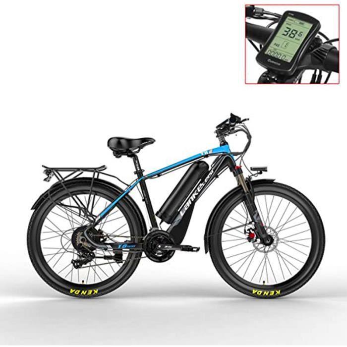 T8 48V15A400W Le vélo électrique Puissant, adoptent la Fourchette de Suspension, Le vélo d'assistance de pédale,Bleu noir.