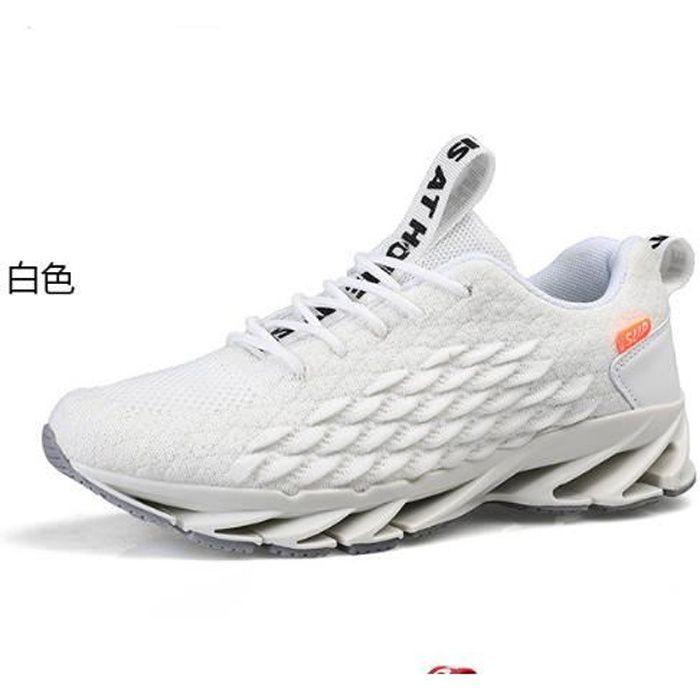 Chaussures de course pour hommes, baskets en maille respirante-blanc