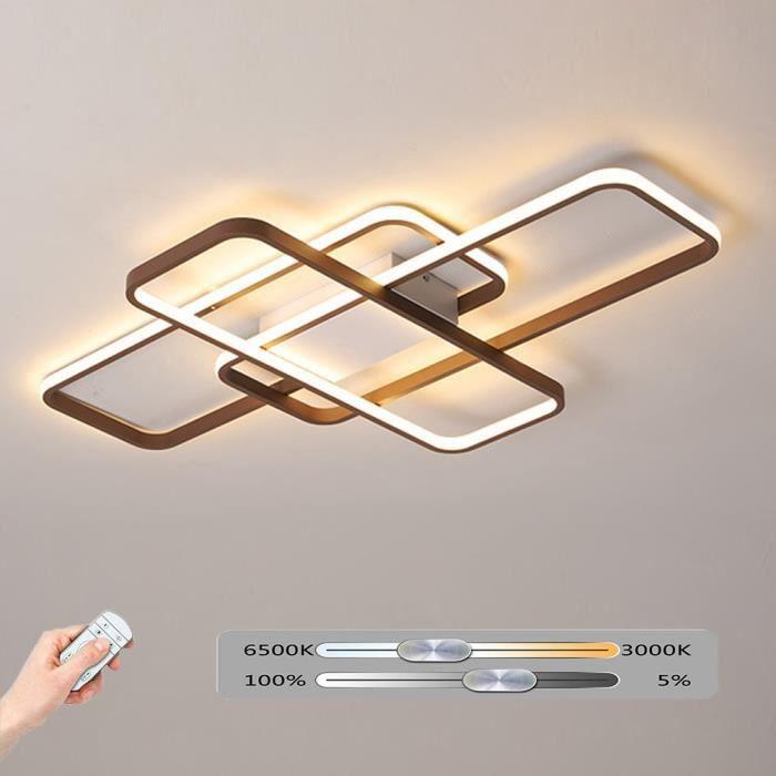 Design LED Plafonnier Dimmable Avec Télécommande Moderne Lampe de Plafond Rectangulaire Luminosité Variable Salon Chambre à Coucher