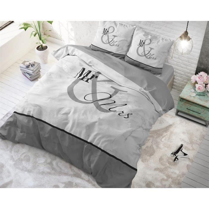 Housse de couette avec 1 taie d'oreiller 100% Cotton140X200-220Mr and Mrs 3 Marble Grey