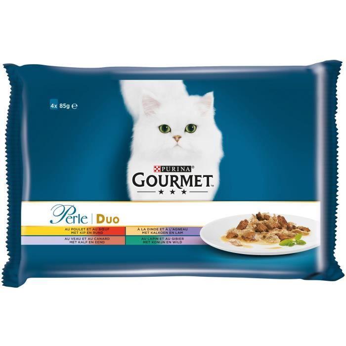 GOURMET Perle Duo à la viande - Sachets repas - Pour chat adulte - 4 x 85 g