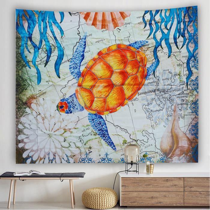 TEMPSA Tenture Tapisserie De Yoga Châle Tapis Jeter Tapis Couvertures Décor Océan Mer Art Tapisserie Mandala 150X200CM