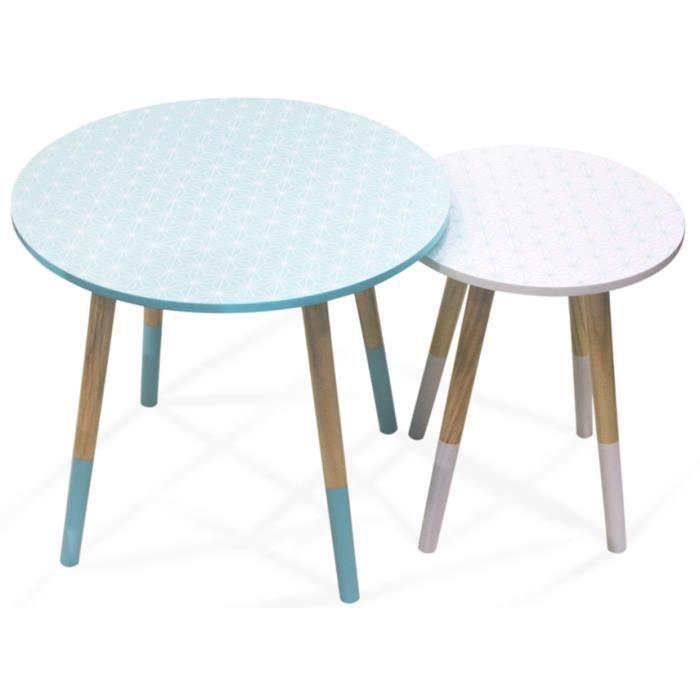 Tables gigognes scandinave avec motifs géométriques (Lot de 2) Vert/Blanc