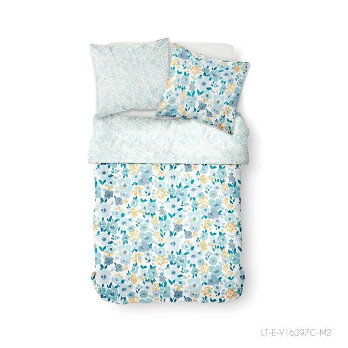 Parure de lit 2 personnes 220X240 Coton imprime blanc Floral SUNSHINE 3.46