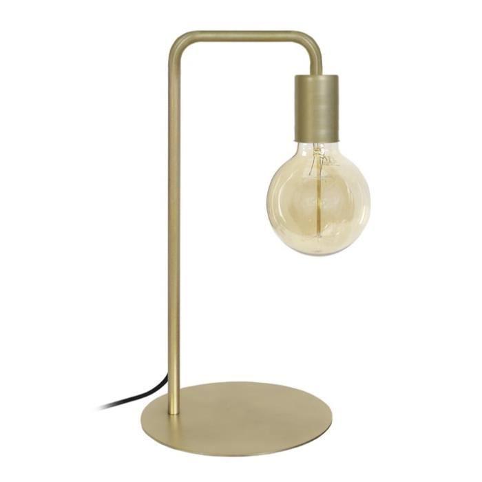 NORWICH Lampe à poser en acier - L22 x P18 x H45 cm - Or - Ampoule LED 4W E27 Noir comprise