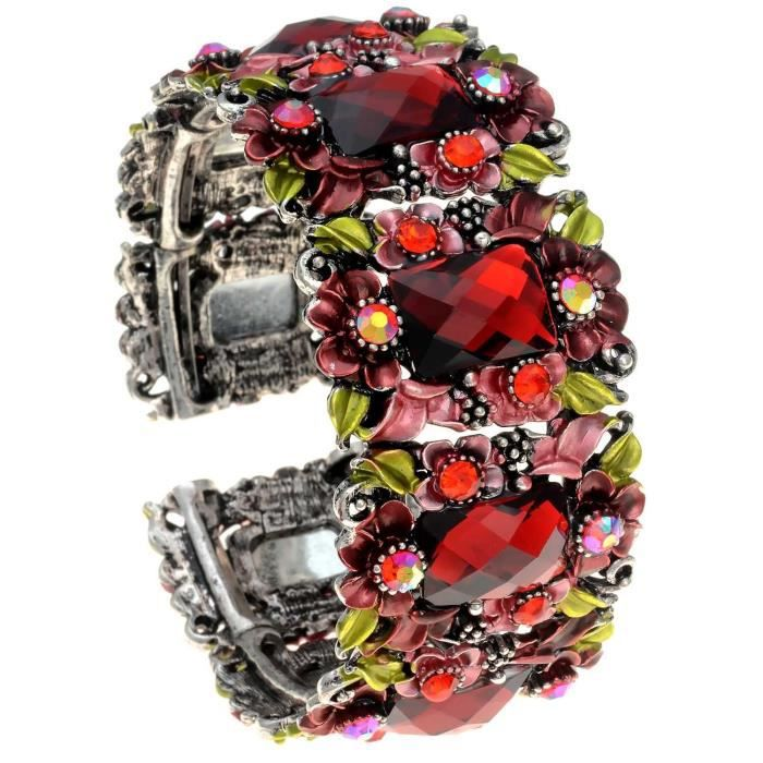Womens Red Acrylic And Glass Flower Hinged Bangle Bracelet III21