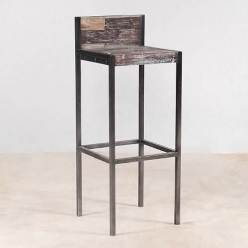 tabouret haut en bois avec dossier industry achat vente tabouret de bar bois fer m tal. Black Bedroom Furniture Sets. Home Design Ideas