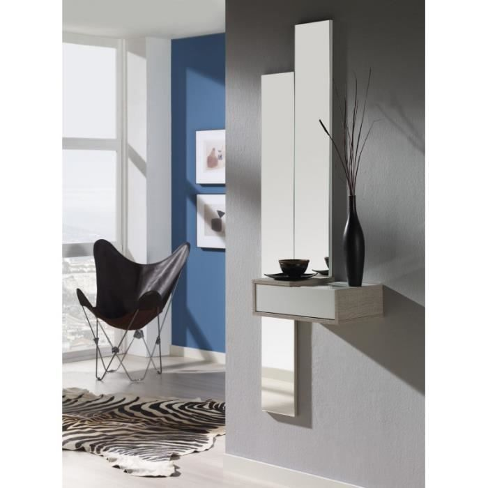 meuble d 39 entr e avec miroir toba chene clair achat. Black Bedroom Furniture Sets. Home Design Ideas