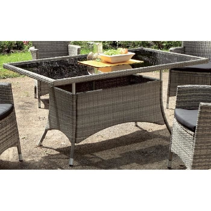 Table grise de jardin en r sine tress e achat vente for Table basse jardin resine tressee