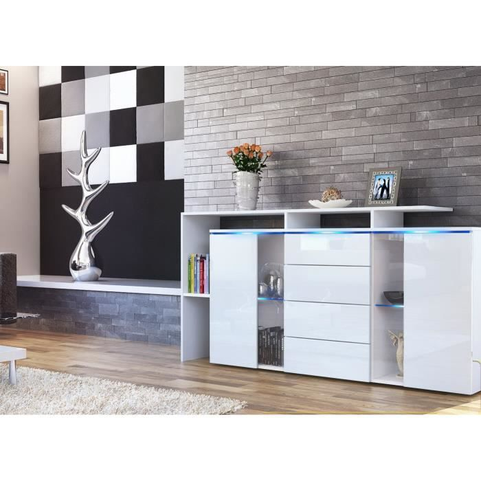 bahut long laqu blanc achat vente buffet bahut. Black Bedroom Furniture Sets. Home Design Ideas