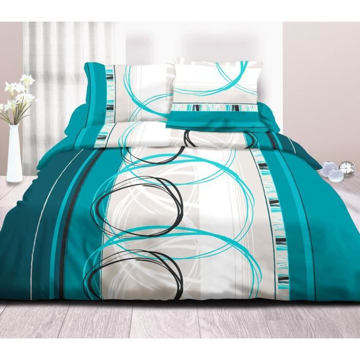 housse de couette 240x260 2 taies pur coton 57 fils roue libre turquoise achat vente. Black Bedroom Furniture Sets. Home Design Ideas