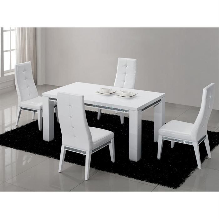 table repas design laquee blanche haute brillance achat vente table a manger seule table a. Black Bedroom Furniture Sets. Home Design Ideas