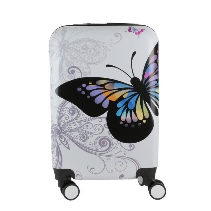 VALISE - BAGAGE Valise trolley ABS 'Papillons' blanc multicolore -