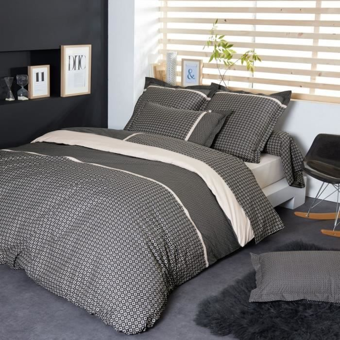 parure de lit 240x220 cm percale pur coton gatsby achat vente parure de couette soldes. Black Bedroom Furniture Sets. Home Design Ideas