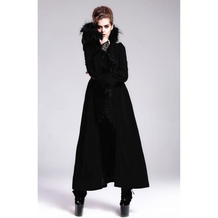 long manteau gothique femme devil fashion noir noir achat vente manteau caban cdiscount. Black Bedroom Furniture Sets. Home Design Ideas