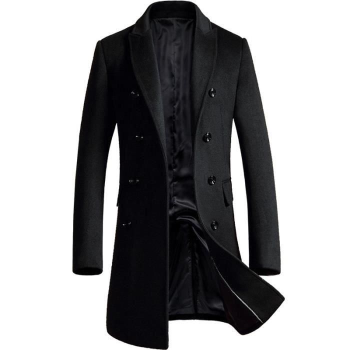 Manteau Longue Homme en Laine Mode Manteau Croisé