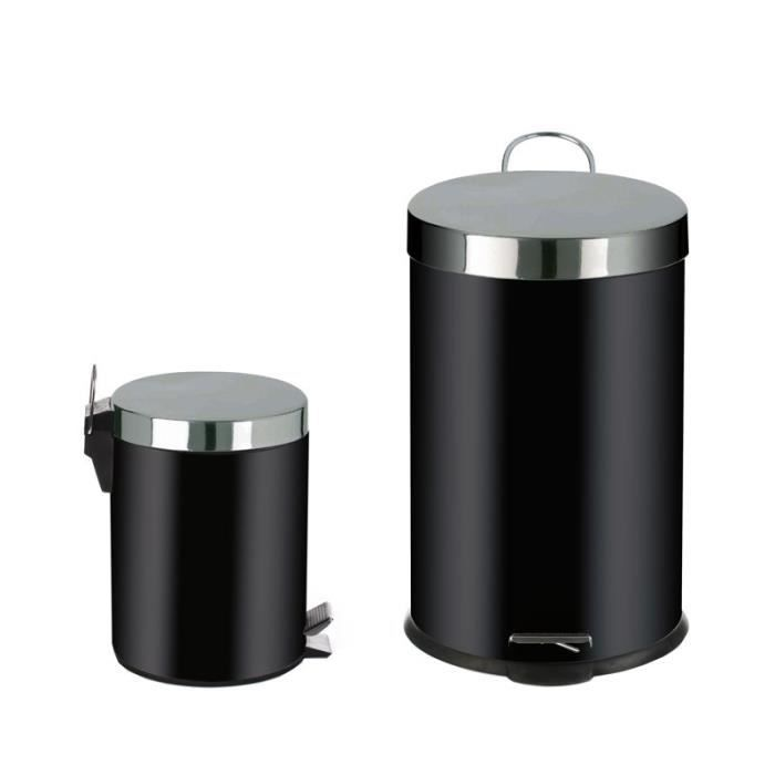 paris prix 2 poubelles 20l 5l inox noir achat vente poubelle corbeille paris prix 2. Black Bedroom Furniture Sets. Home Design Ideas