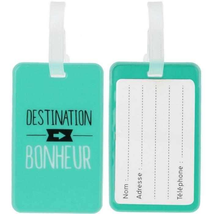 Set Duo Lot 2 Porte /Étiquettes De Bagages Valises Inscription Fun Vert DEau Promobo