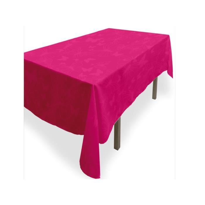 nappe rectangle anti tache papillon fushia achat vente nappe de table cdiscount. Black Bedroom Furniture Sets. Home Design Ideas