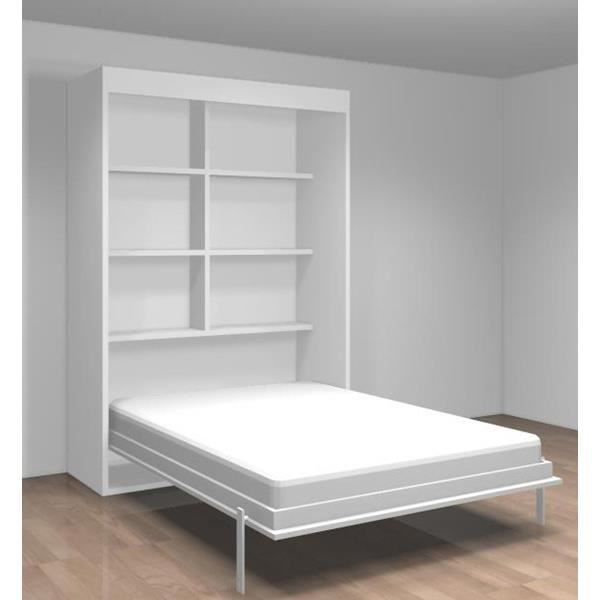lit relevable avec tag res teo 140x190 blanc mat achat vente lit escamotable cdiscount. Black Bedroom Furniture Sets. Home Design Ideas