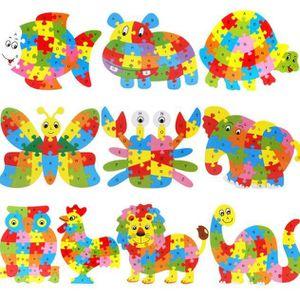 PUZZLE Animaux en bois Puzzle Lettre Jigsaw Blocks Kid Le