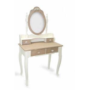 COIFFEUSE Console avec miroir meuble coiffeuse en bois blanc