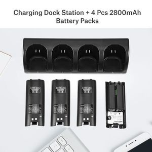 DOCK DE CHARGE MANETTE Station de Recharge 4 Manettes Wii + Batteries(Noi