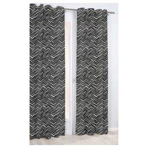 RIDEAU Rideau Imprimé à Chevrons Noir 140 x 260 cm