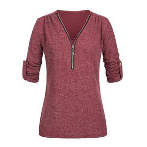 T-SHIRT Femmes Hauts Casual Shirt dames col en V Fermeture