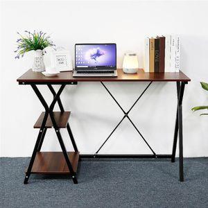 BUREAU  Bureau en métal - Décor chêne et noir - H 75 cm -