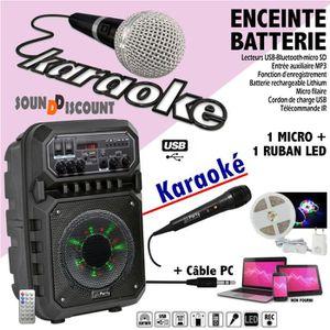 PACK SONO ENCEINTE PORTABLE 200W USB BLUETOOTH FM + 1 RUBAN