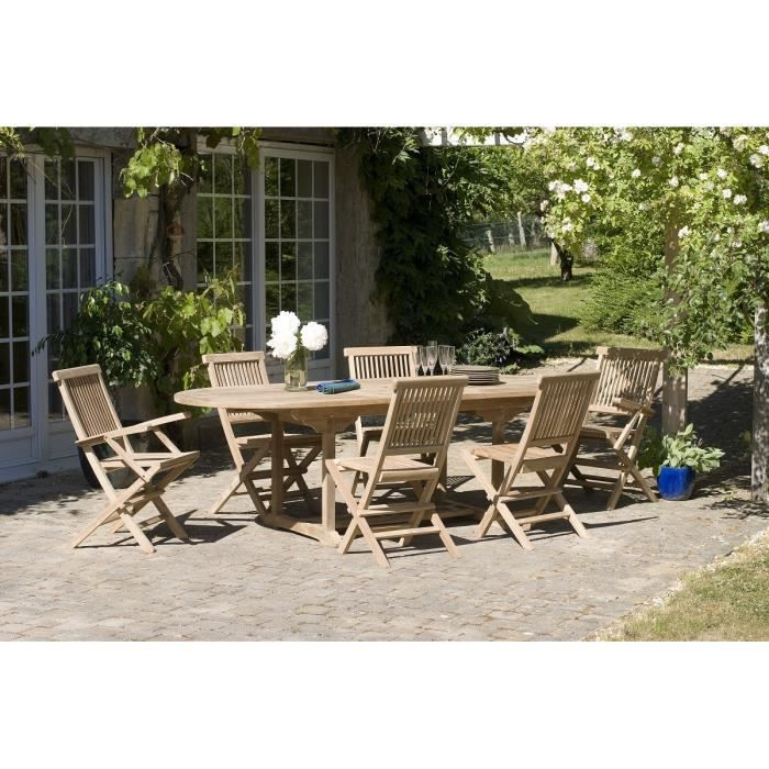 JAVA Ensemble en teck table ovale extensible de jardin 180 - 240 cm ...