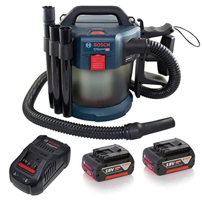 Bosch Professional 06019C6301 Aspirateur Sans-Fil GAS 18 V-10 (18 V, 4,7 kg, 90 mbar, Pack d'Accessoires) Bleu/noir 1, Bleu/noir
