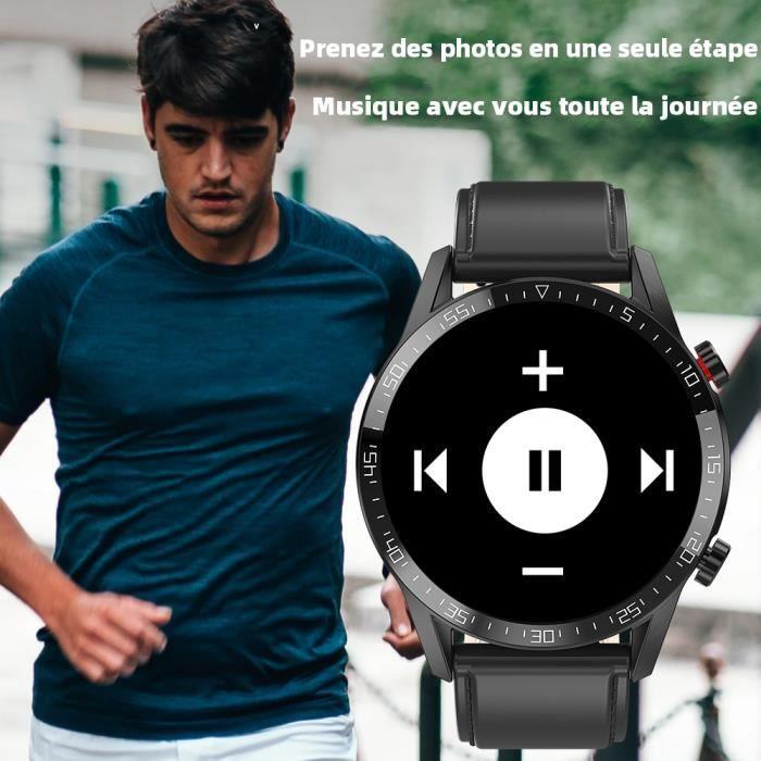 Smartwatch Ainuevo L13 Montre Connectée Bluetooth 4.0 IP68 Etanche pour Samsung Sony Huawei Xiaomi Android Cuir Noir