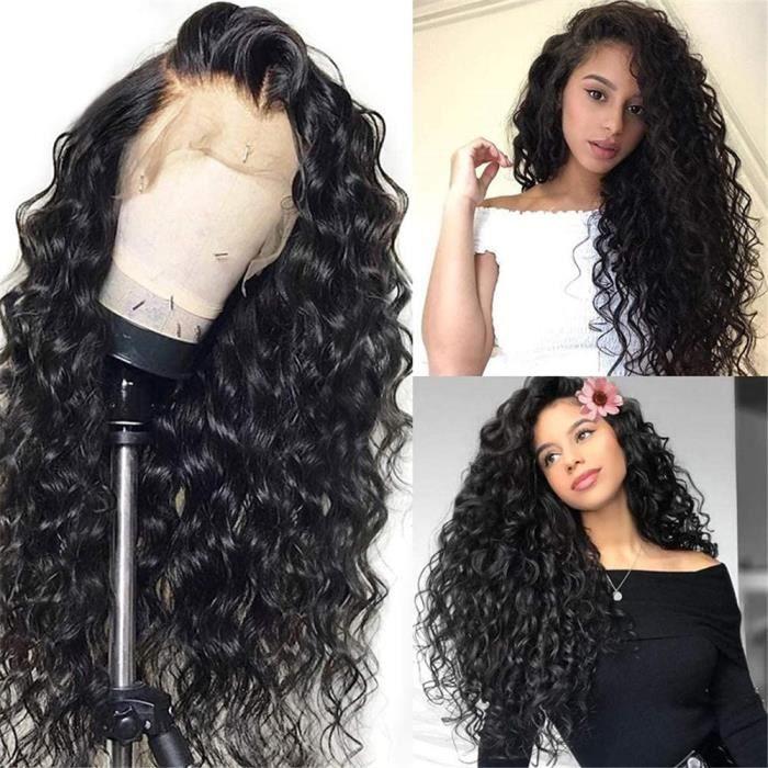 18- Perruque Cheveux Naturels 4x4 Perruque Lace Front Bouclé Cheveux Humain Bresilienne Glueless Top Swiss Lace Wig