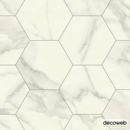 Sol Lino - Imitation carrelage hexagonal - Blanc marbré (2x8m=16m²)