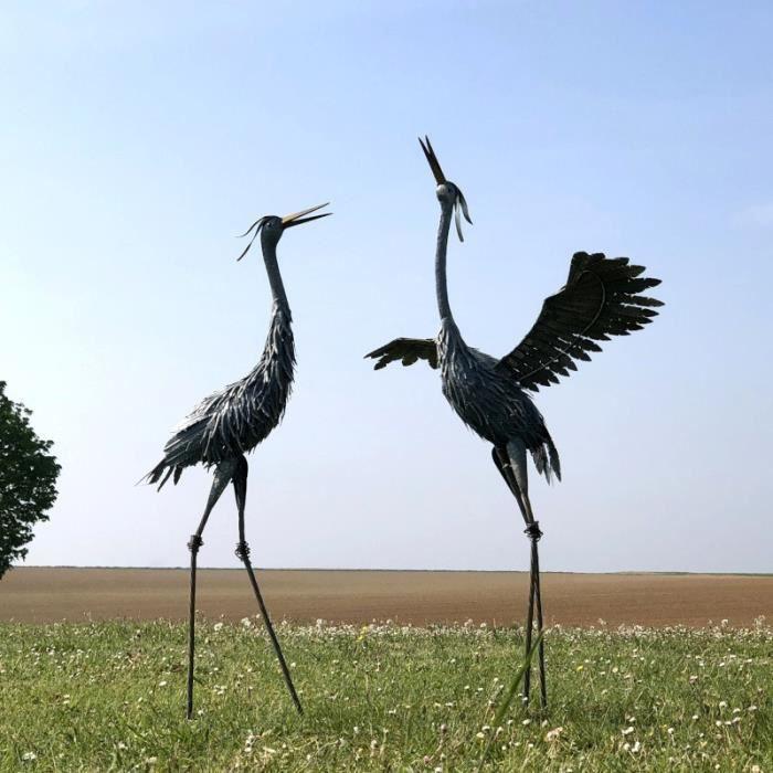 Animaux Oiseau Héron Ibis Flamant Rose Décoration Déco Jardin Fer - Set2-10343-Flamant-Bis