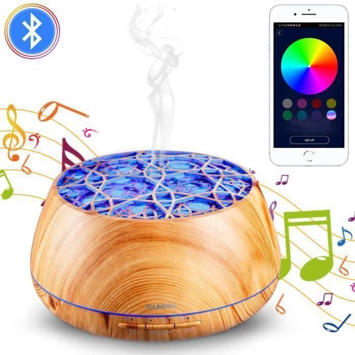 Diffuseur Huiles Essentielles Electrique 400ML, Humidificateur d'air avec APP et Haut-Parleur Bluetooth, Lumière de 30 Couleurs