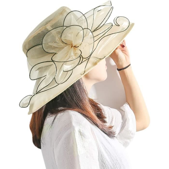 Chapeau de Mariage Femme Capeline Elégante Chapeau de Soleil Pliable Chapeau d'Egl Cérémonie Organza Casquette de Kentucky Der A625