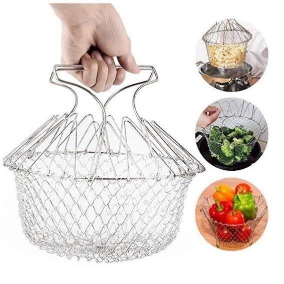 Panier Métal De Cuisson Rinçage Vapeur Pâtes Frites Légumes Salade Filet Passoire Pliable Cuisine Chef