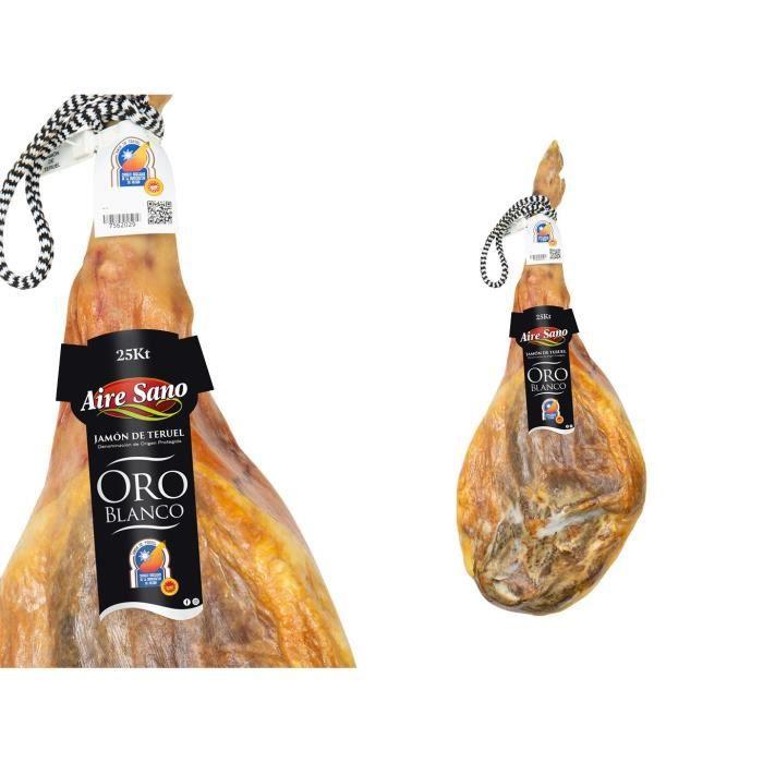 Jambon sec espagnol avec os. Serrano de Teruel AOP OR BLANC. Séchage naturel + de 25 mois, emballé sous vide filet. Pièce généreuse