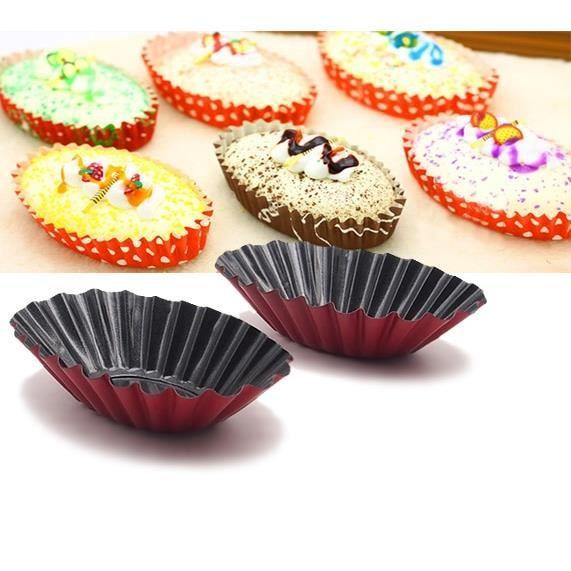 Outils boulangerie et pâtisserie,Moule à tarte de forme ovale de conception cannelée 12 pièces-boîtes à tartelettes-Mini poêle à